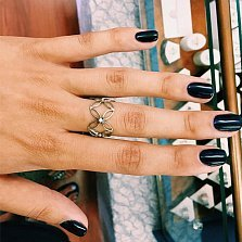 Серебряное кольцо Pattern с белым цирконием