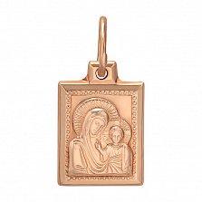 Золотая прямоугольная ладанка Божья Матерь Казанская
