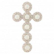 Серебряный крестик Очарование с опалом и фианитами