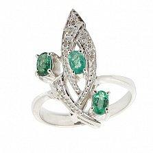 Серебряное кольцо с бриллиантами и изумрудами Аманда