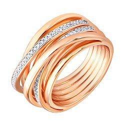 Серебряное кольцо с цирконием и позолотой 000141180
