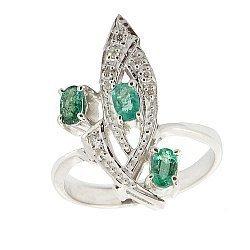 Серебряное кольцо с бриллиантами и изумрудами 000022184