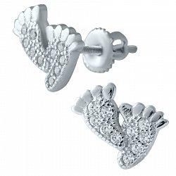 Серебряные серьги-пуссеты Ножки с фианитами