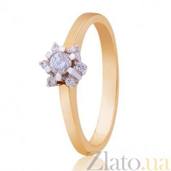 Золотое кольцо Зимний цветок с бриллиантами EDM--КД7443