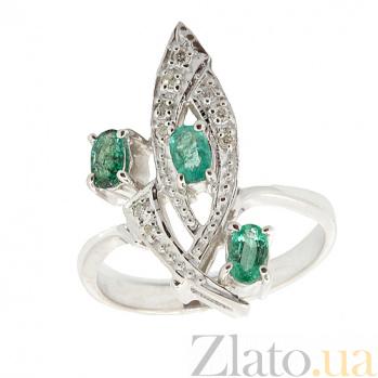 Серебряное кольцо с бриллиантами и изумрудами Аманда ZMX--RDE-6157-Ag_K