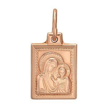 Золотая прямоугольная ладанка Божья Матерь Казанская 000063813