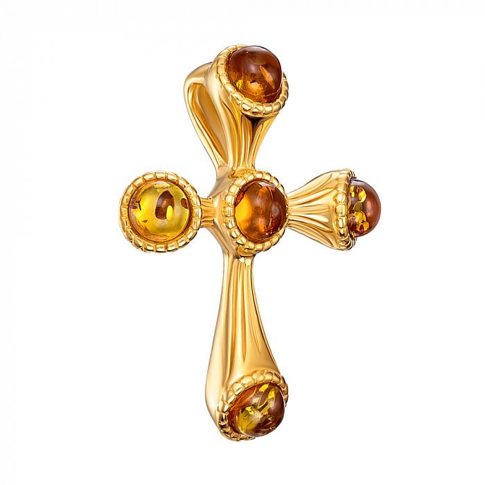 Серебряный декоративный крестик с янтарем и позолотой 000137627 000137627