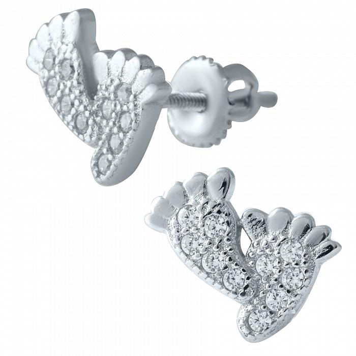 Серебряные серьги-пуссеты Ножки с фианитами 000077978