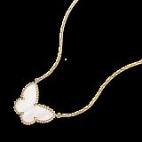 Колье-бабочка из желтого золота с белым перламутром Alhambra