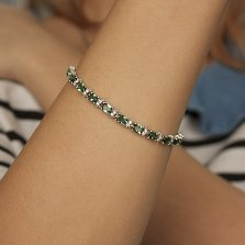 Серебряный браслет Фиолент с зеленым агатом и фианитами