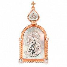 Ладанка из красного и белого золота Владимирская Божья Матерь