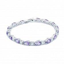 Серебряный браслет с аметистом Виолет
