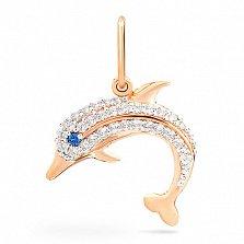 Подвес из золота с фианитами Дельфин