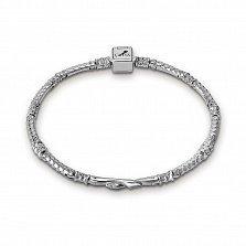 Серебряный тонкий браслет для шармов Две змеи