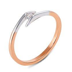 Золотое кольцо в комбинированном цвете с бриллиантом 000131124