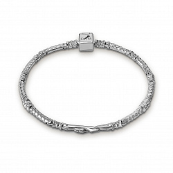 Серебряный тонкий браслет для шармов Две змеи 000071649