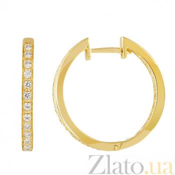 Серьги в желтом золоте Саманта с фианитами 000023102