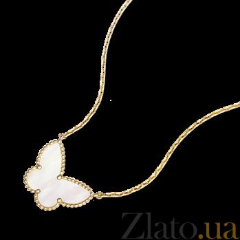 Колье-бабочка из желтого золота с белым перламутром Alhambra N-VCA-Algamra-E-nacre(W)