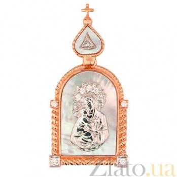 Ладанка из красного и белого золота Владимирская Божья Матерь VLT--Е3567