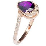 Золотое кольцо Иоланта с аметистом и фианитом