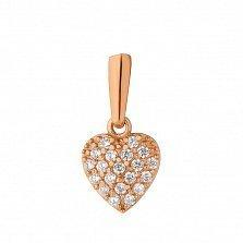 Золотой кулон Сердечко в красном цвете в усыпке фианитов