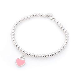 Серебряный браслет Одри с розовым сердечком-подвеский в стиле Тиффани