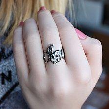 Серебряное чернёное кольцо Ветер перемен