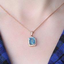 Золотой подвес Ориста с голубым топазом и цирконием