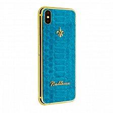 Apple iPhone XS MAX Noblesse AZURE Gold в желтом золоте и голубой коже питона