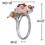 Золотое кольцо с агатом, перламутром и бриллиантами Делорис
