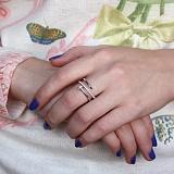 Серебряное кольцо Волшебный гвоздик с золотой накладкой и цирконием в стиле Картье