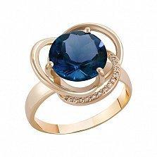 Кольцо в красном золоте Кристина с лондон топазом и фианитами
