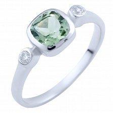 Серебряное кольцо Фатима с зеленым аметистом и фианитами