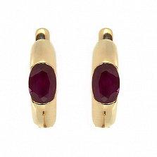Золотые серьги с рубинами Зафира
