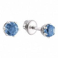 Серебряные серьги-пуссеты Лея с кварцем Swiss blue