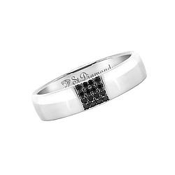 Золотое обручальное кольцо с черными бриллиантами Благосклонная любовь