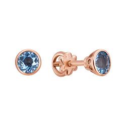 Золотые серьги-пуссеты Марджери с завальцованными темно-голубыми топазами