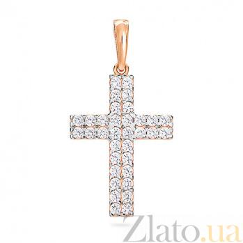 Золотой крестик с фианитами Гламур SUF--440341