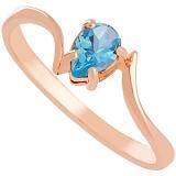 Золотое кольцо с голубым топазом Розетта