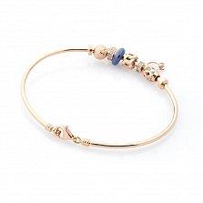 Золотой браслет Алеяндра с фианитами и синим полимером