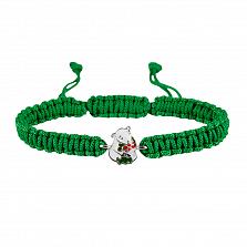 Детский плетеный браслет Мишка с букетом с разноцветной эмалью, 10-20см