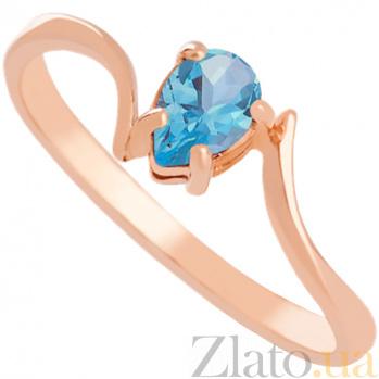 Золотое кольцо с голубым топазом Розетта 000024504