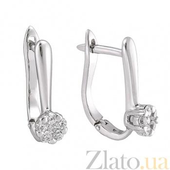 Золотые серьги в белом цвете Эльфия SVA--2190834102/Фианит/Цирконий