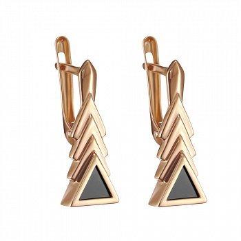 Золотые сережки Треугольная елка с черными агатами 000101849