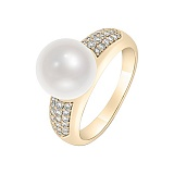 Кольцо в желтом золоте Катерина с жемчугом и бриллиантами