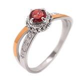 Серебряное кольцо с цирконием и золотой вставкой Скарлетт