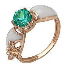 Золотое кольцо Летнее утро с зеленым кварцем, фианитами и эмалью