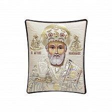 Православная икона Святой Николай Чудотворец на основе под дерево, гальванопластика, 8х9см