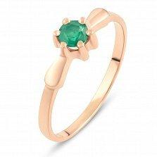 Золотое кольцо Лукерья с изумрудом