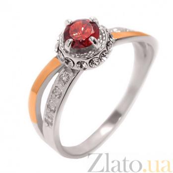 Серебряное кольцо с цирконием и золотой вставкой Скарлетт BGS--005к